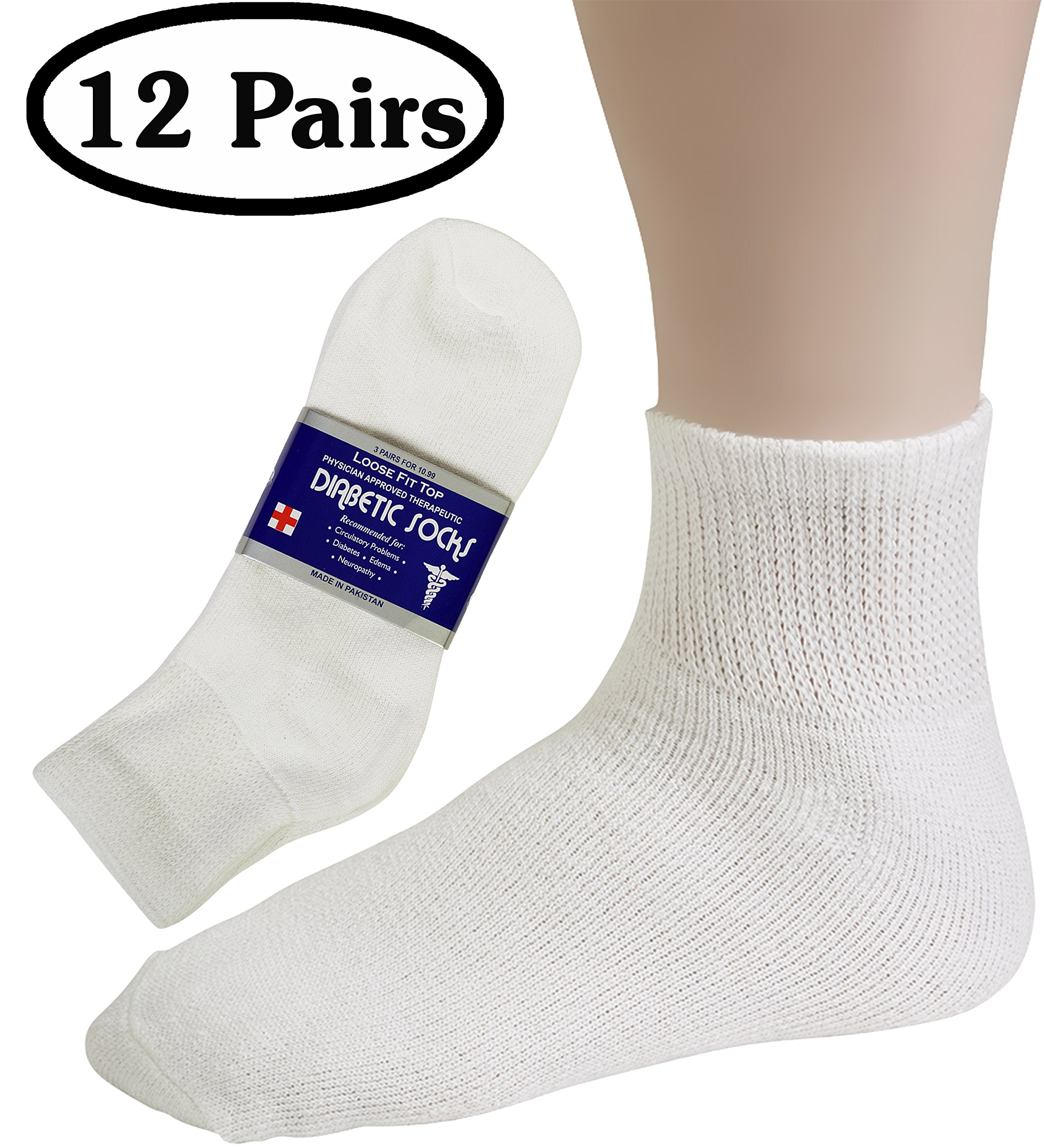 Debra Weitzner Womens Diabetic Socks Loose Cotton Socks 12-pack Ankle White