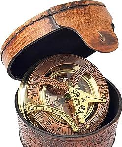 Brass Nautical - Antique Brass & Copper Sundial Compass, Sundial Clock, Sun dial in Box Gift Sun Clock Ship Replica Watch Sun Clock