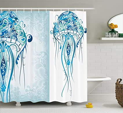 Ambesonne Sea Creatures Artistic Nautical Coastal Decor Fabric Shower Curtain Ocean Jellyfish With Paisley Pattern