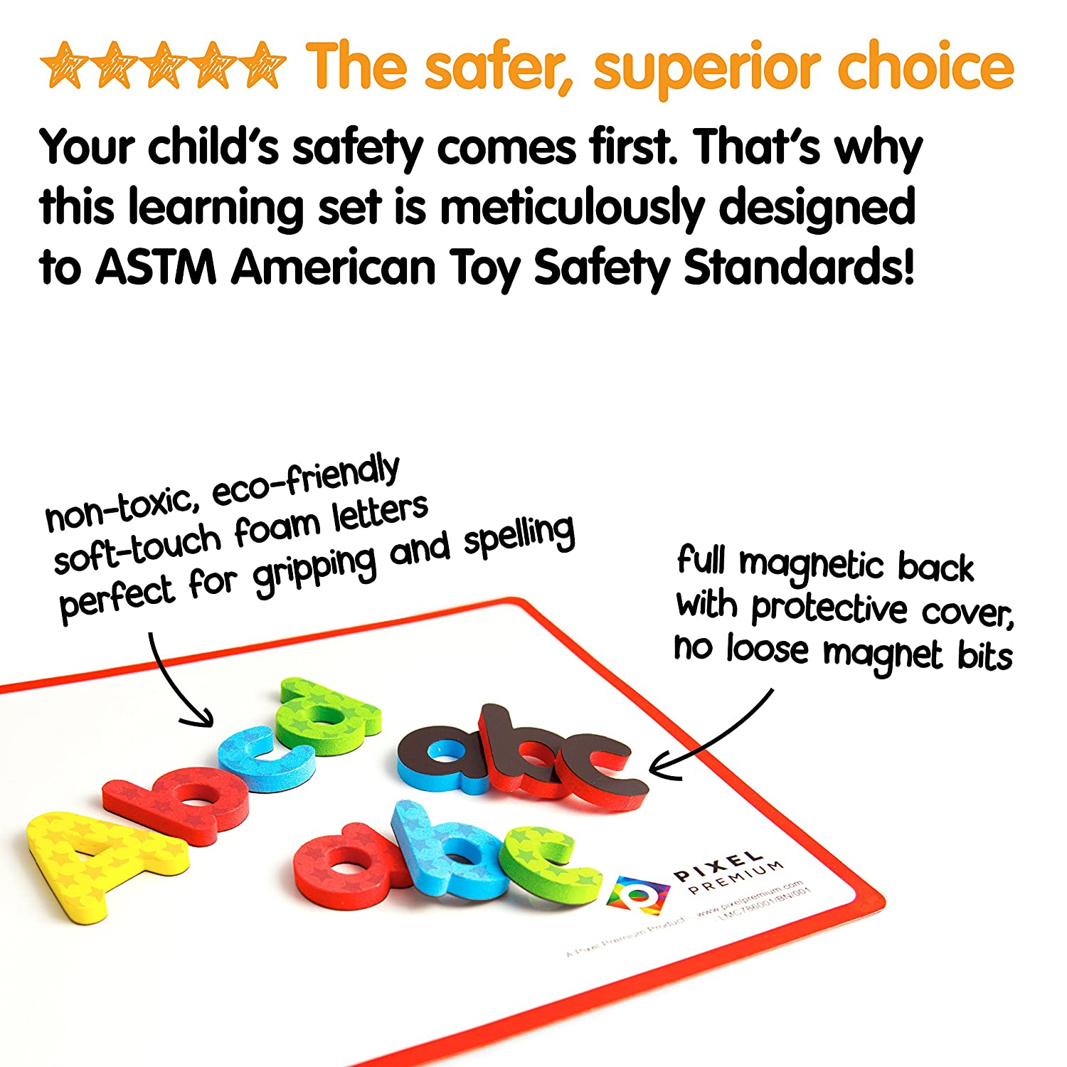 Dry Erase Magnetic Board and FREE e-Book with 40+ Learning /& Spelling Games Pixel Premium ABC Magnets for Kids Gift Set 142 Magnetic Letters for Fridge Best Alphabet Magnets for Refrigerator Fun!