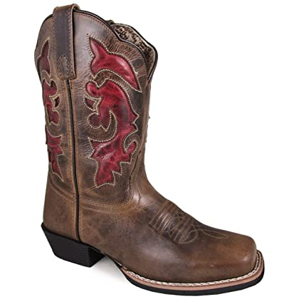 Smoky Mountain Women's Claire Pull On Stitched Design Square Toe Brown Waxed Distress Boots