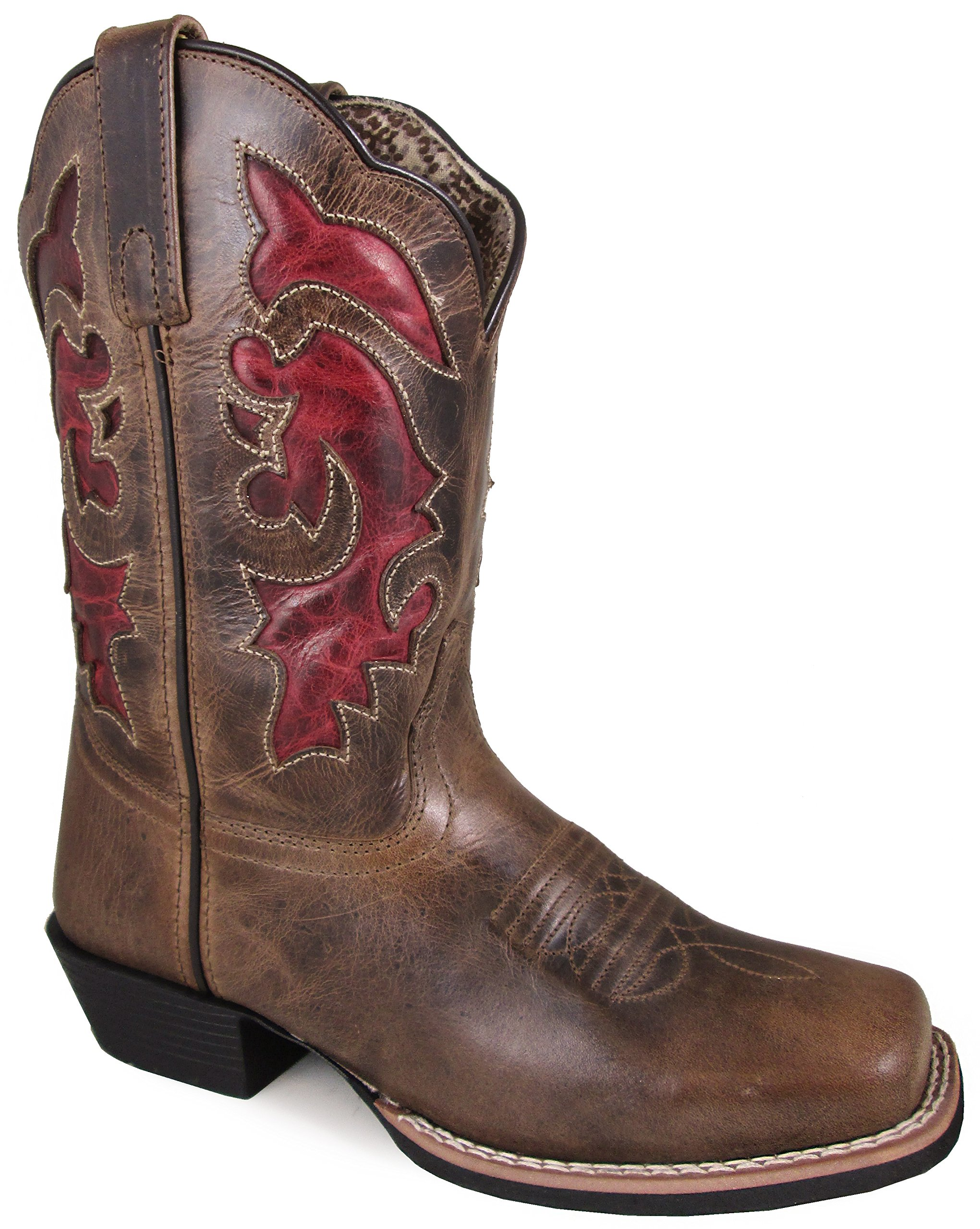 Smoky Mountain Women's Claire Pull On Stitched Design Square Toe Brown Waxed Distress Boots 8.5M