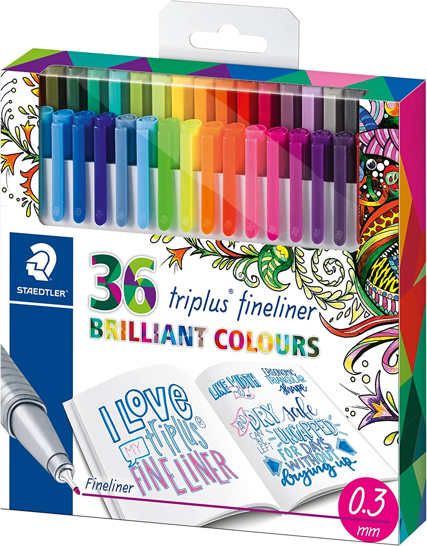 STAEDTLER Pennarello 36 Colori TRIPLUS FINELINER Joanna BASFORD Tratto 0,3 mm