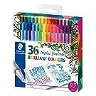 Staedtler Johanna Basford Triplus Fineliner Pens for Adult Coloring Books (Set of 36)