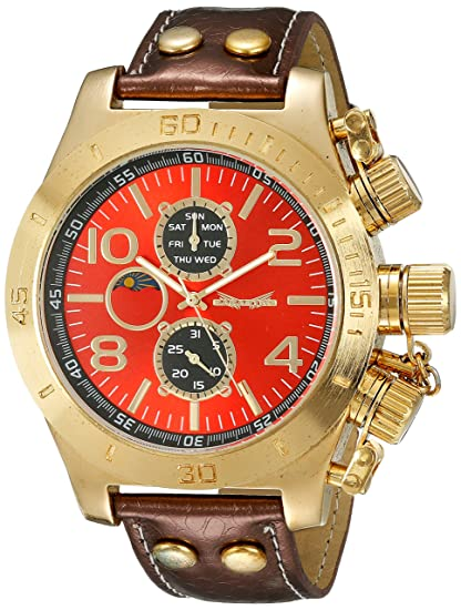 Reloj de Hombre con Esfera Roja, Correa Marrón de Piel ...