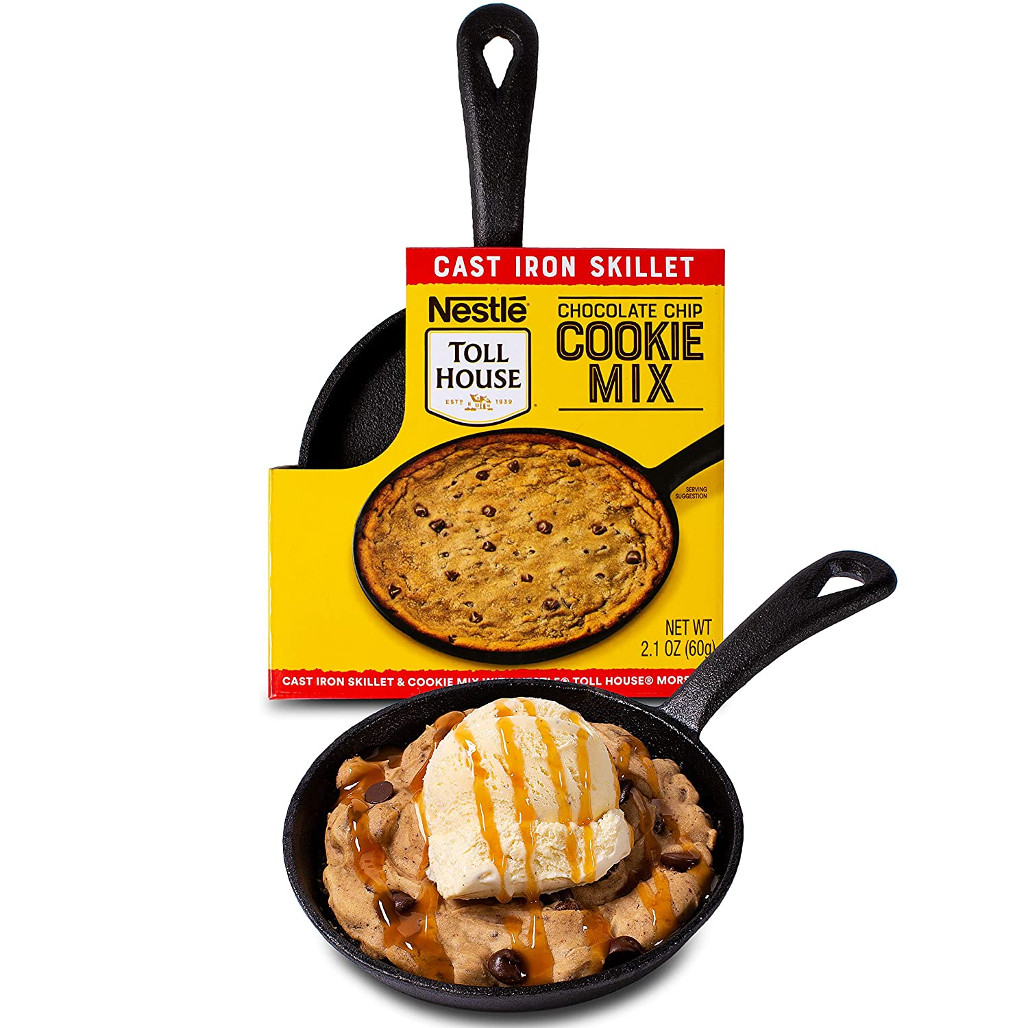 """Thoughtfully Gifts, Nestle Toll House Individual-Size Chocolate Chip """"Pizza Cookie"""" Kit, Includes Cookie Mix and Mini Cast Iron Skillet"""