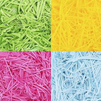 100 g de Papel de Relleno de Regalo Rafia en Tiras de Cesta de Pasto de Pascua para Relleno de Cajas de Regalo de Cesta de Pascua, Manualidades (4 Colores): Amazon.es: Oficina