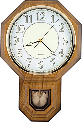 JUSTIME Traditional Schoolhouse Pendulum Luminous Wall Clock Chimes Hourly with Westminster Melody Made in Taiwan PP0258-L-LW Light Wood Grain