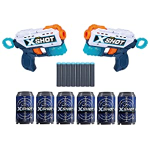 X-Shot Excel Double Kickback Foam Dart Blaster Combo Pack (8 Darts, 6 Cans) by ZURU