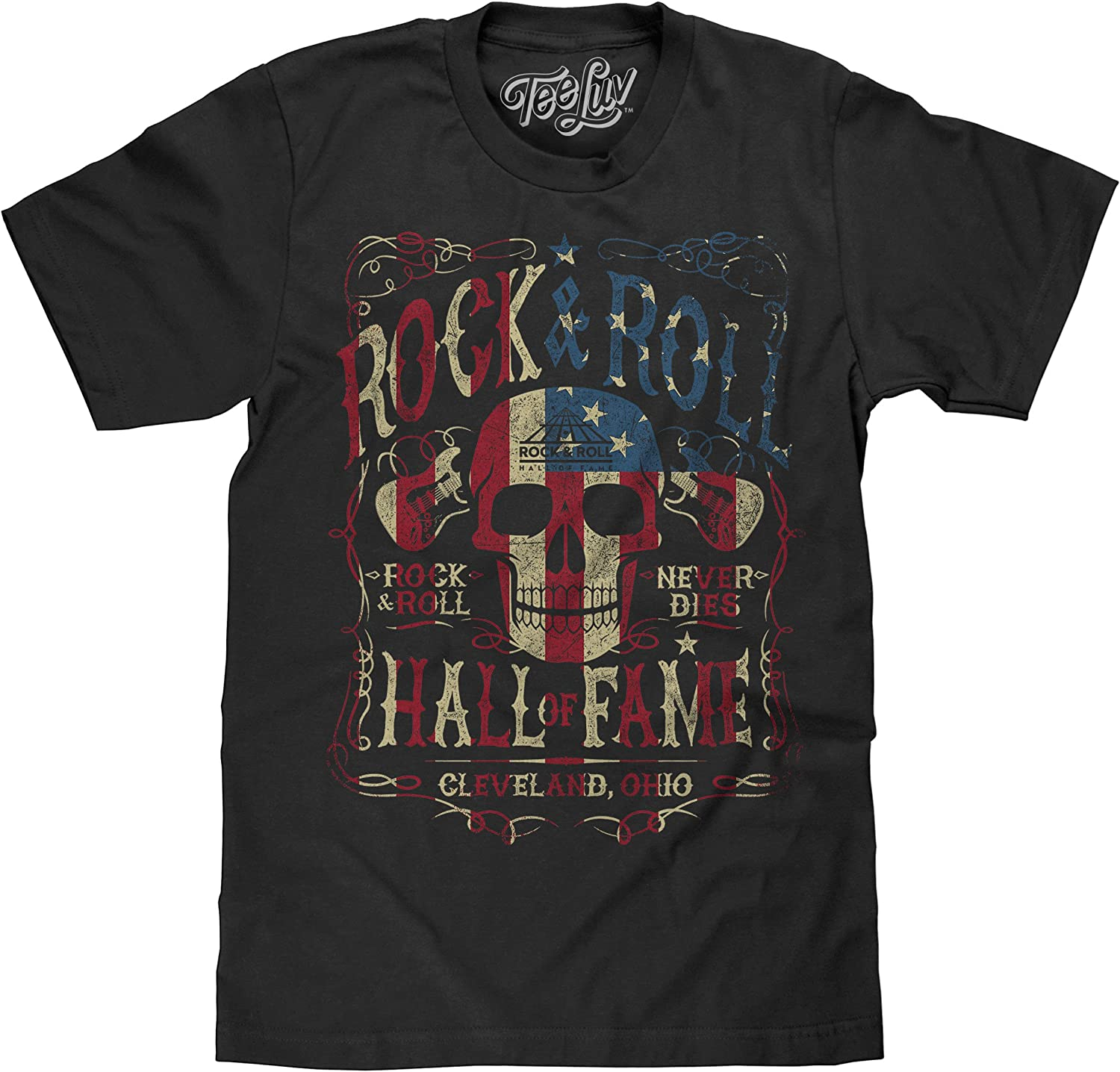 Tee Luv Rock and Roll Hall of Fame T-Shirt - American Flag Skull Shirt