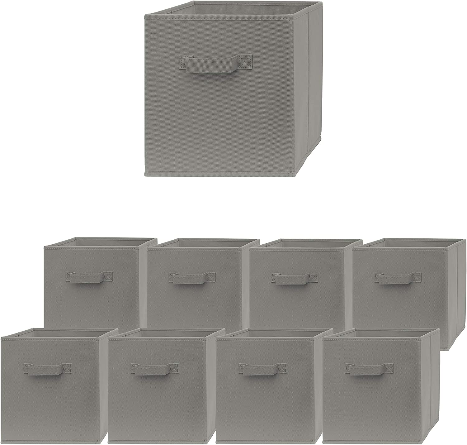 Pomatree Storage Cubes - 9 Pack - Durable and Sturdy Storage Bins with 2 Reinforced Handles | Fabric Cube Baskets for Organizing Closet, Clothes and Toys | Foldable Shelves Organizer (Light Grey)