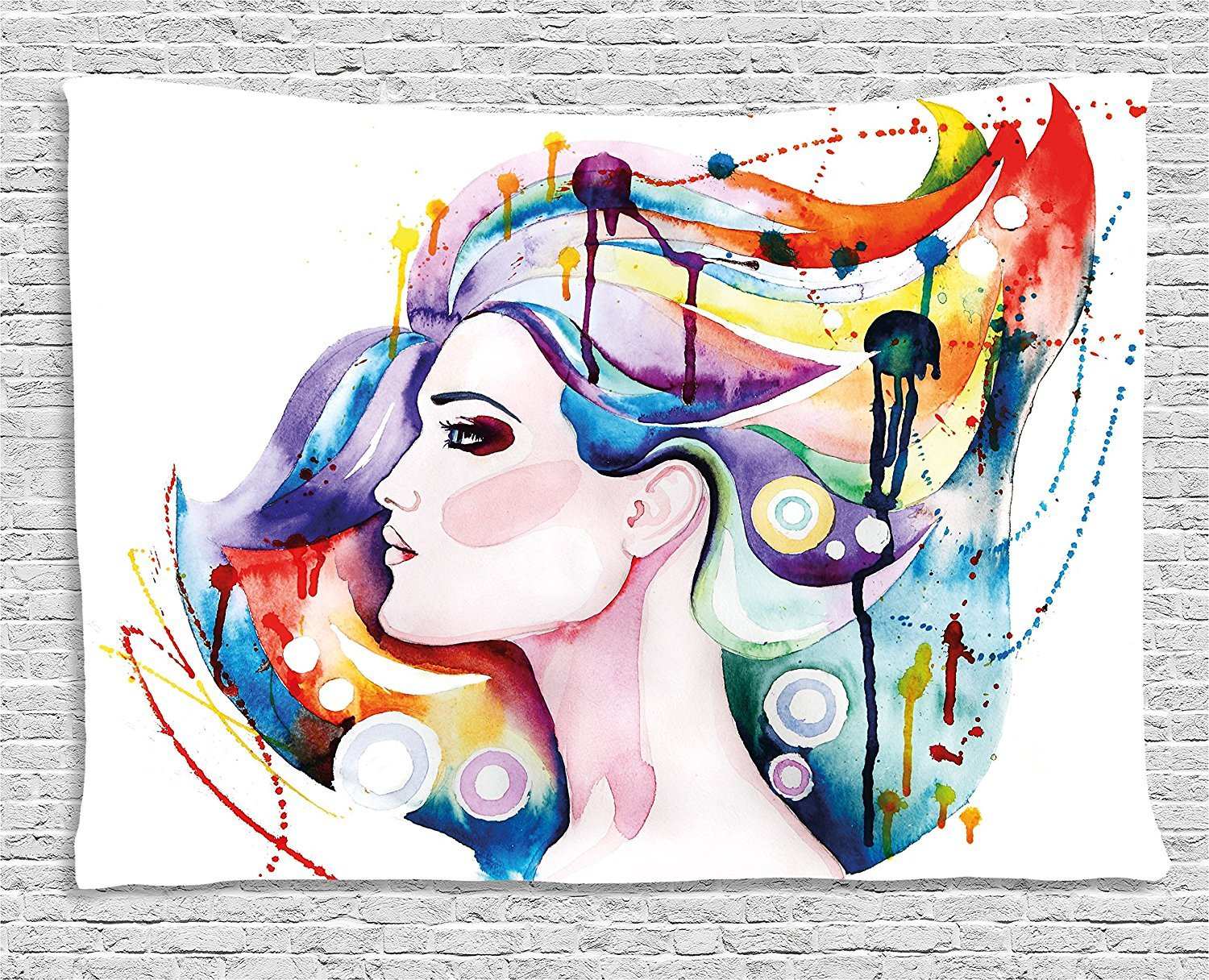 Art Tapestry, Lovely Grunge Inspired Young Woman with Rainbow Colored Hair Abstract Watercolor Art, Wall Hanging for Bedroom Living Room Dorm, 80 W X 60 L Inches, Multicolor