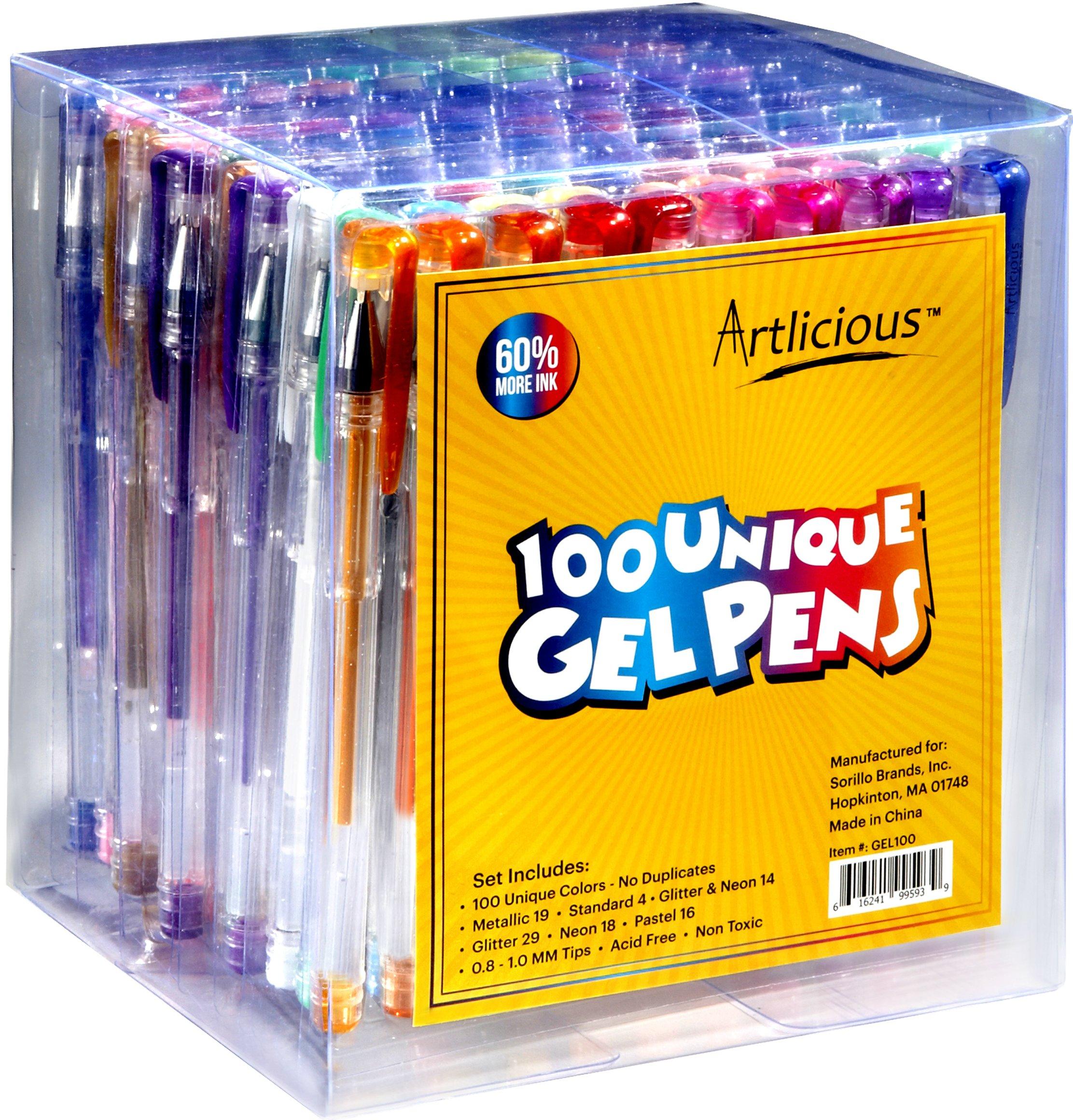 Artlicious - Ultimate 100 Unique Gel Pens Set - No Duplicates - 60% More Ink .. 14