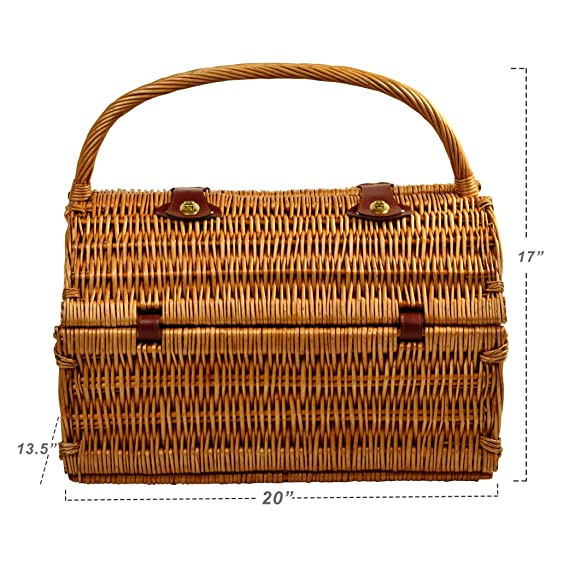 d914ee1f4 Amazon.com  Picnic at Ascot Yorkshire Willow Picnic Basket with Service for  4