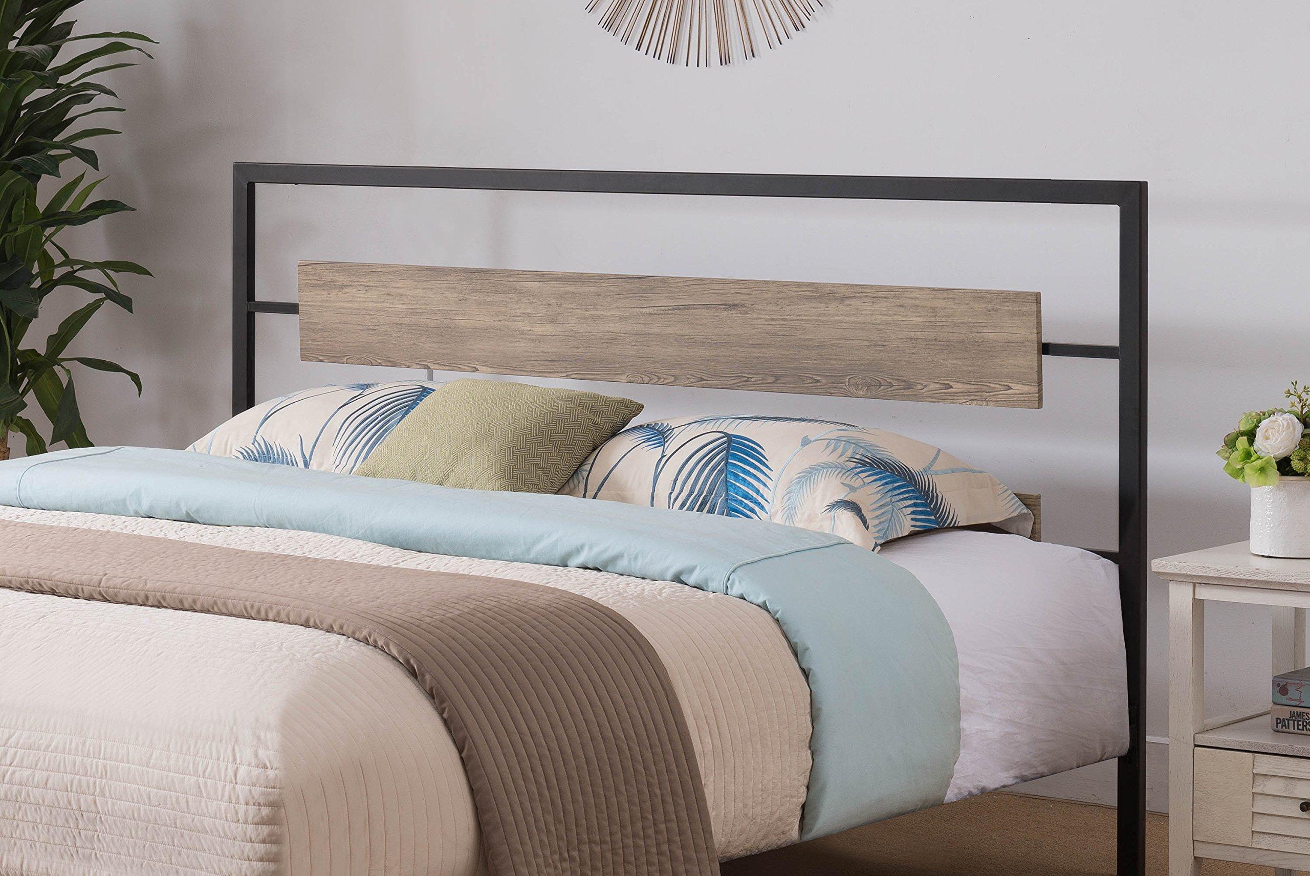 Kings Brand Furniture - Verona Pewter Metal/Gray Wood Twin Size Headboard by Kings Brand Furniture