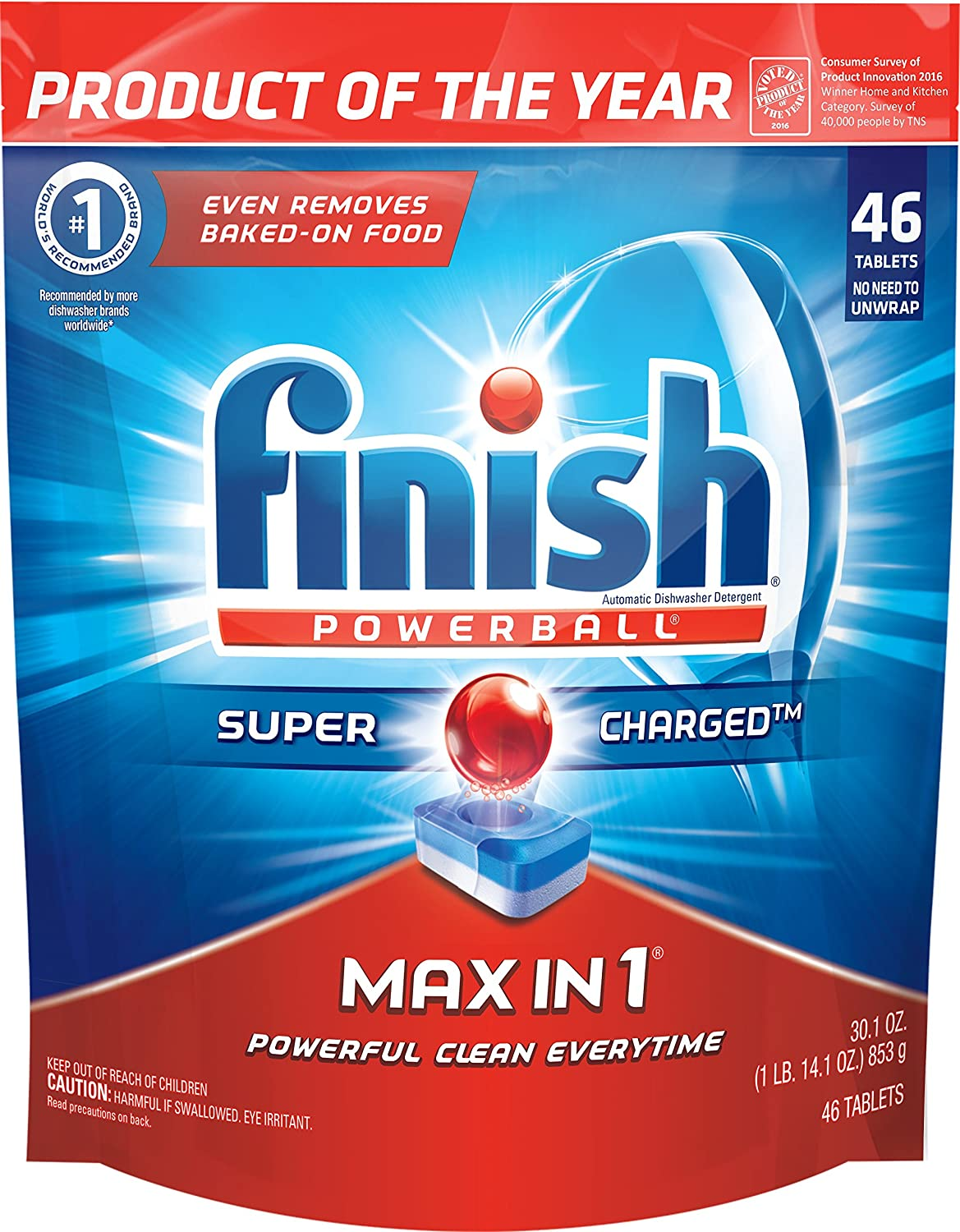Finish Max in 1 Powerball, 172ct, Wrapper Free Dishwasher Detergent Tablets (4X43ct)