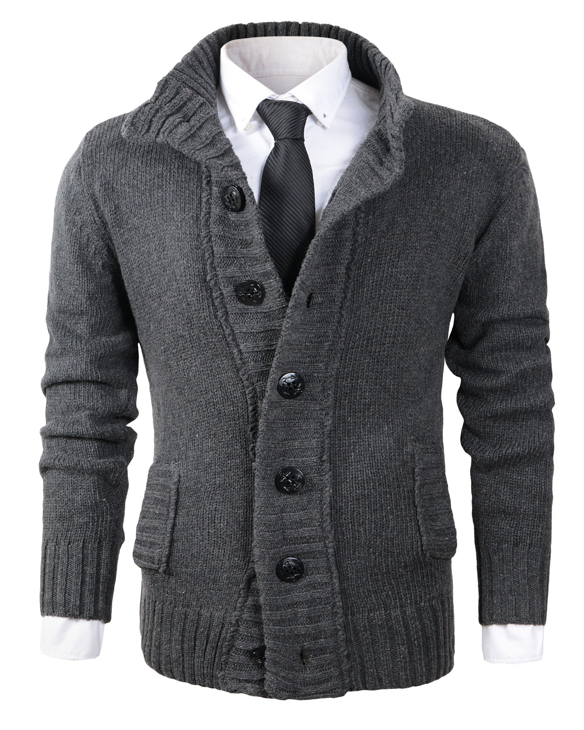 Benibos Men's Button Point Stand Collar Knitted Slim Fit Cardigan Sweater (L, CYMY Grey)