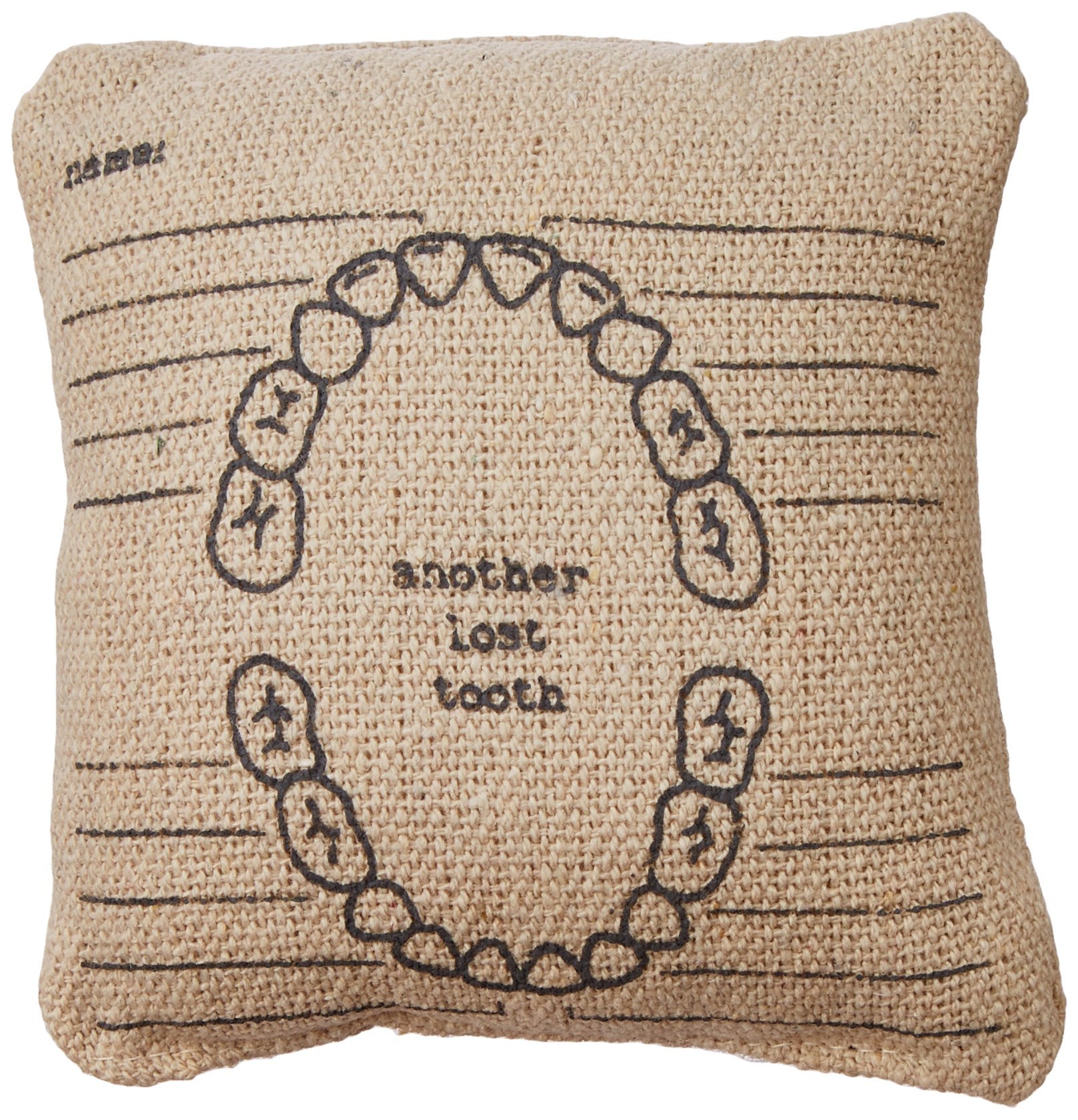 """Primitives by Kathy Mini Linen Accent Pillow, 5.25"""" x 5.25"""" - Stash the tooth fairy cash: mini linen pillow with pocket in back to hold all the loot from the tooth fairy Dimensions: measures 5.25 x 5.25-Inches; 100Percent polyester fiber insert Sentiment reads: another tooth lost - living-room-soft-furnishings, living-room, decorative-pillows - 91fPwg0ODOL -"""