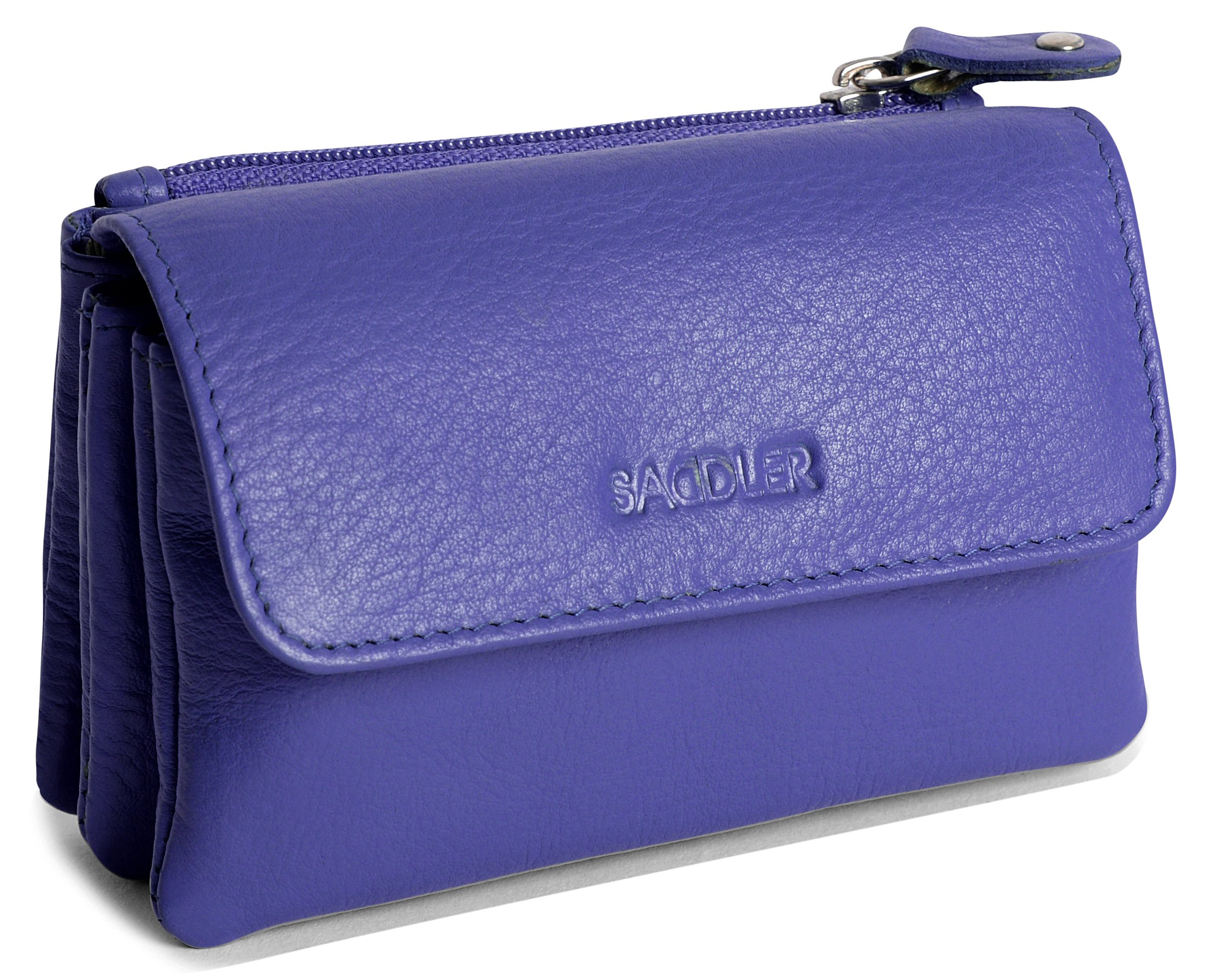 SADDLER Genuine Leather Womens Slim Mini Credit Card Ladies Wallet Change Coin Purse Pouch - Ultraviolet