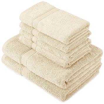 Pinzon by Amazon - Juego de toallas de algodón egipcio (2 toallas de baño y 4 toallas de manos), color crema: Amazon.es: Hogar