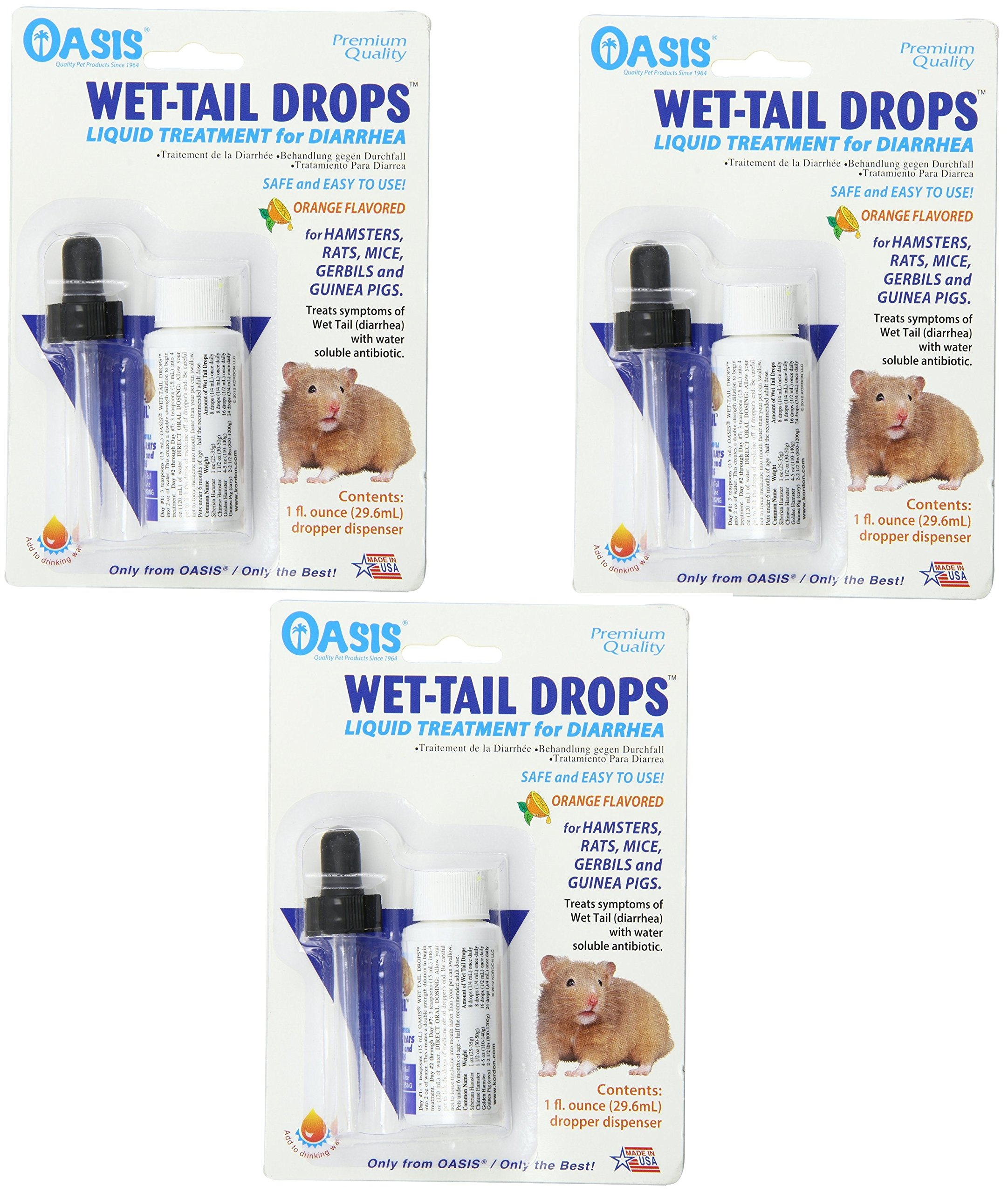 (3 Pack) Oasis Wet Tail Drops- Liquid Treatment for Diarrhea, 1-Ounce