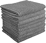 Gryeer Microfibre Kitchen Tea Towels, Super Absorbent and Thick Dish Towels, One Side Ribbed One Side Smooth Cleaning Cloths, 45x65cm, Pack of 8 - Grey