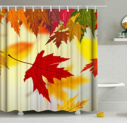 ShineSnow Autumn Golden Tree Maple Fall Falling Leaves Seasonal Scenery Shower Curtain Set 60 X 72