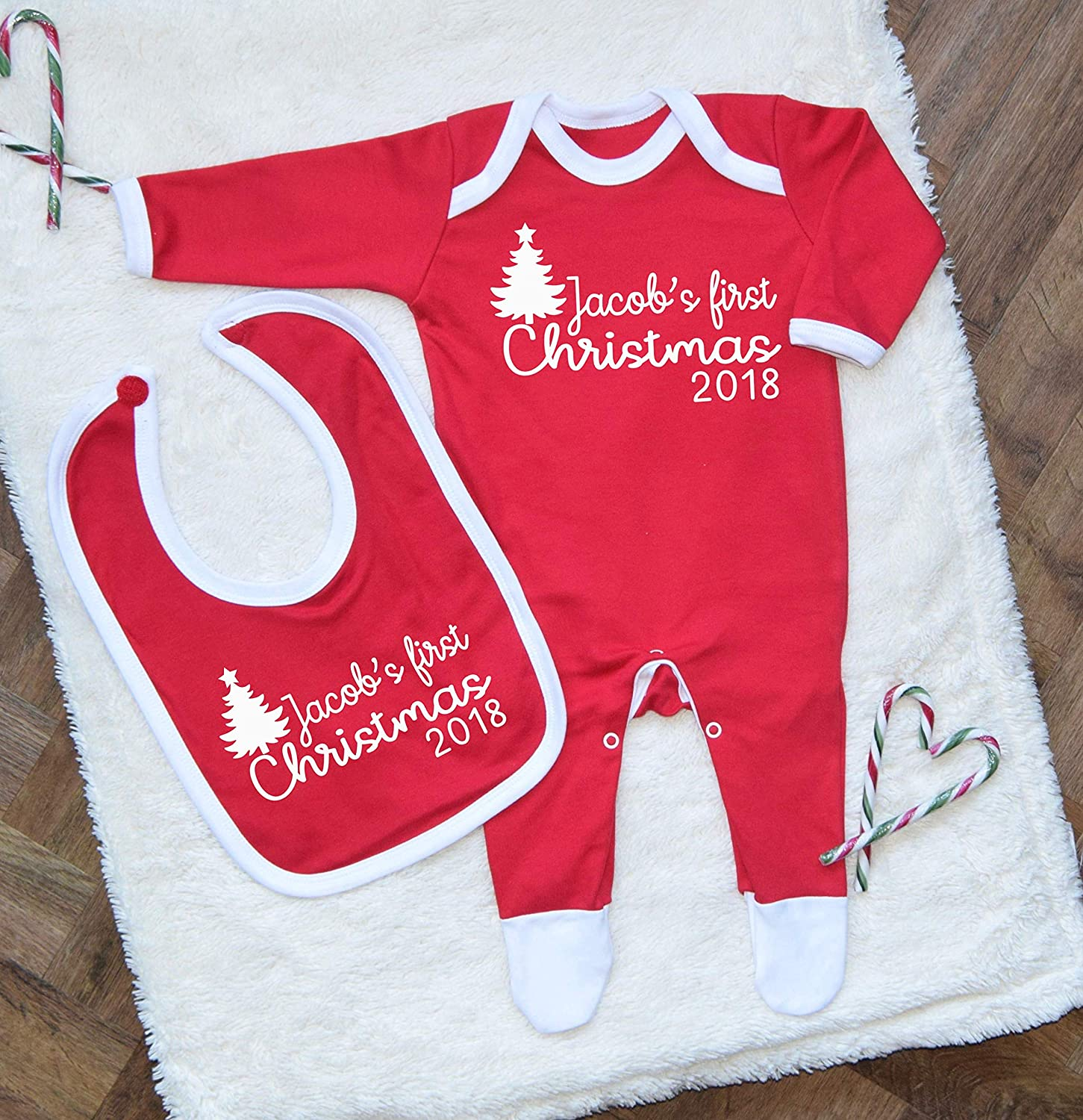 Personalised First Christmas 2018 Baby Romper and Bib Set Babygrow Babis First Christmas 2018 Baby Girl Baby Boy Outfit