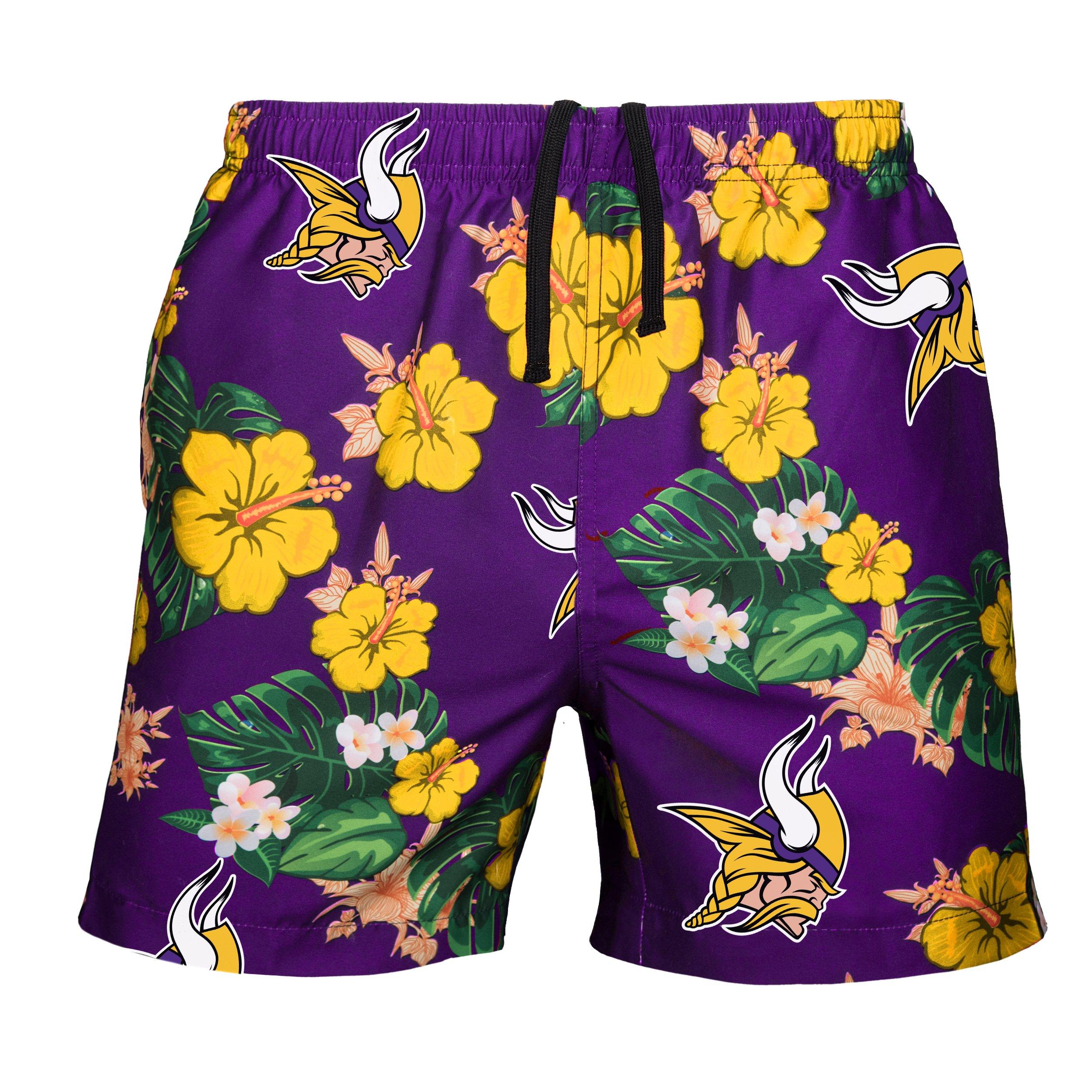 FOCO Men's Team Logo Floral Hawaiin Swim Suit Trunks, Color, Medium (30''-32'')