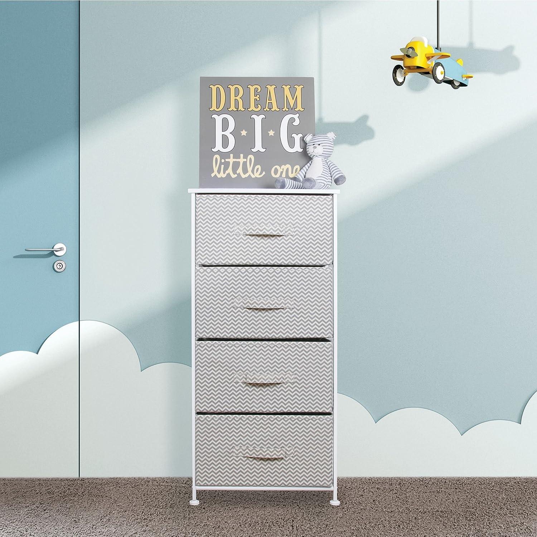 Amazon.com: mDesign Chevron Fabric Baby 4-Drawer Dresser and Storage ...