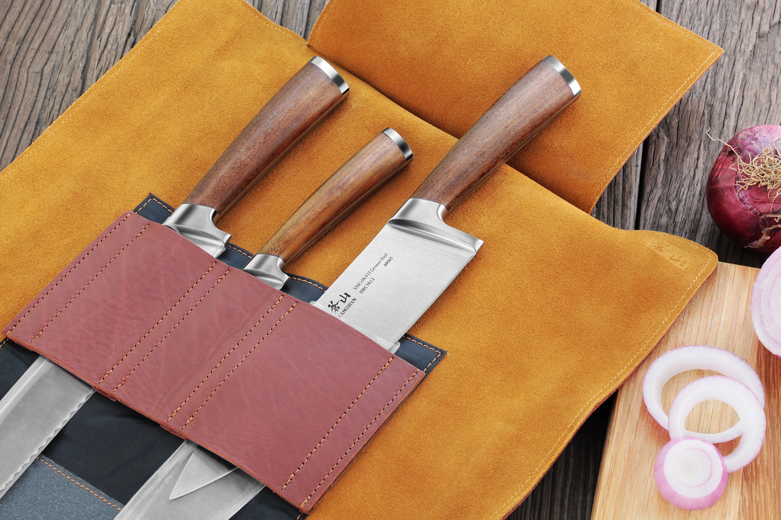 Cangshan Cutlery | H1 Series German Steel X50Cr15MoV Essential Kitchen Knives 4 Unique Patent Pending Design that focuses on solid Teak wood ergonomics handle X50Cr15MoV German Steel forged with HRC 58 +/- 2 on the Rockwell Hardness Scale Handcrafted genuine leather roll works with the knives tastefully