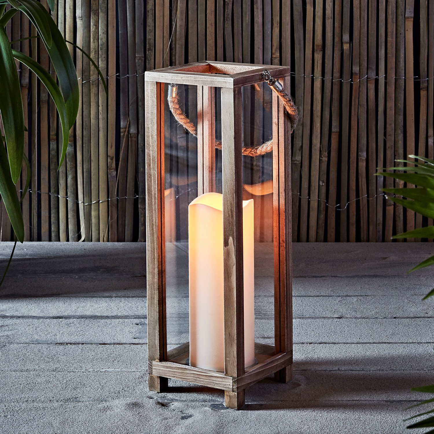 Lights4fun, Inc. Wooden Battery Operated LED Indoor Flameless Candle Lantern with Rope Handle by Lights4fun, Inc.