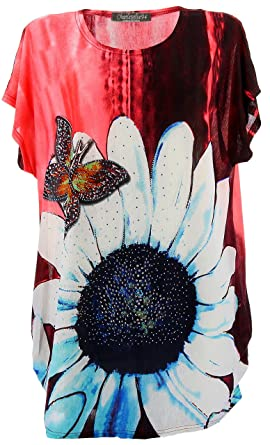 Charleselie94® - Tee Shirt drapé Strass Tunique Grande Taille Corail  PAQUERETTE Corail - 38 4fef795ca17