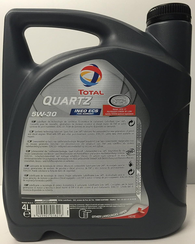 Aceite de motor TOTAL QUARTZ INEO ECS 5W30 6 litros (1x4 lts + 2x1 lt): Amazon.es: Coche y moto
