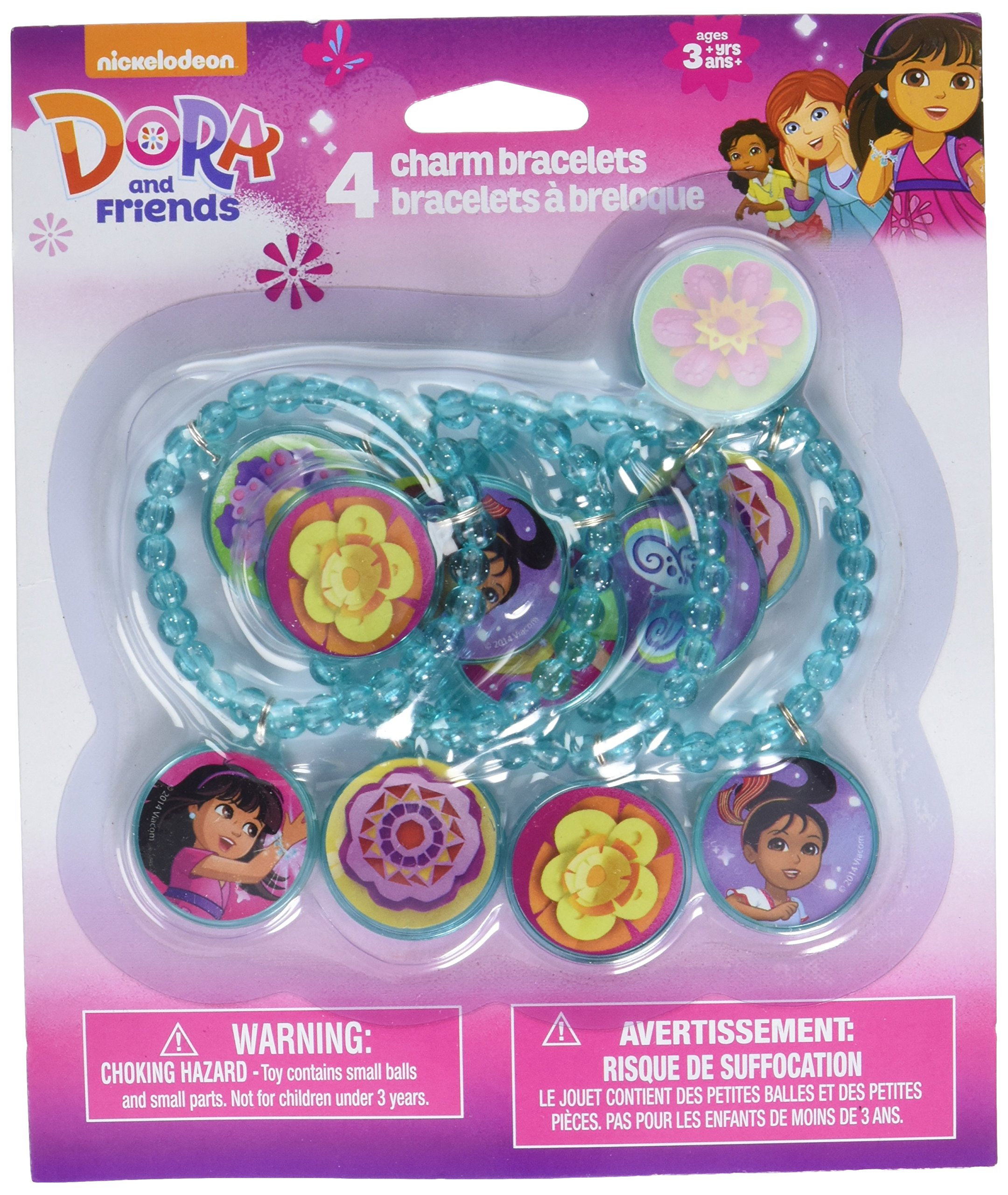 Charming Dora & Friends with Charm Bracelet Birthday Party Favours (4 Pack), Blue, 2'' w/Charm 1''.