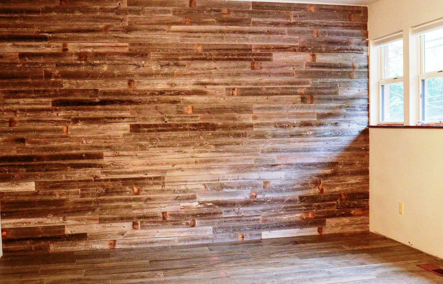 Peel & Stick Rustic Reclaimed Barn Wood Paneling, Real Wood, Rustic Wall Planks - Easy Installation (3 Square FEET) ROCKIN' WOOD