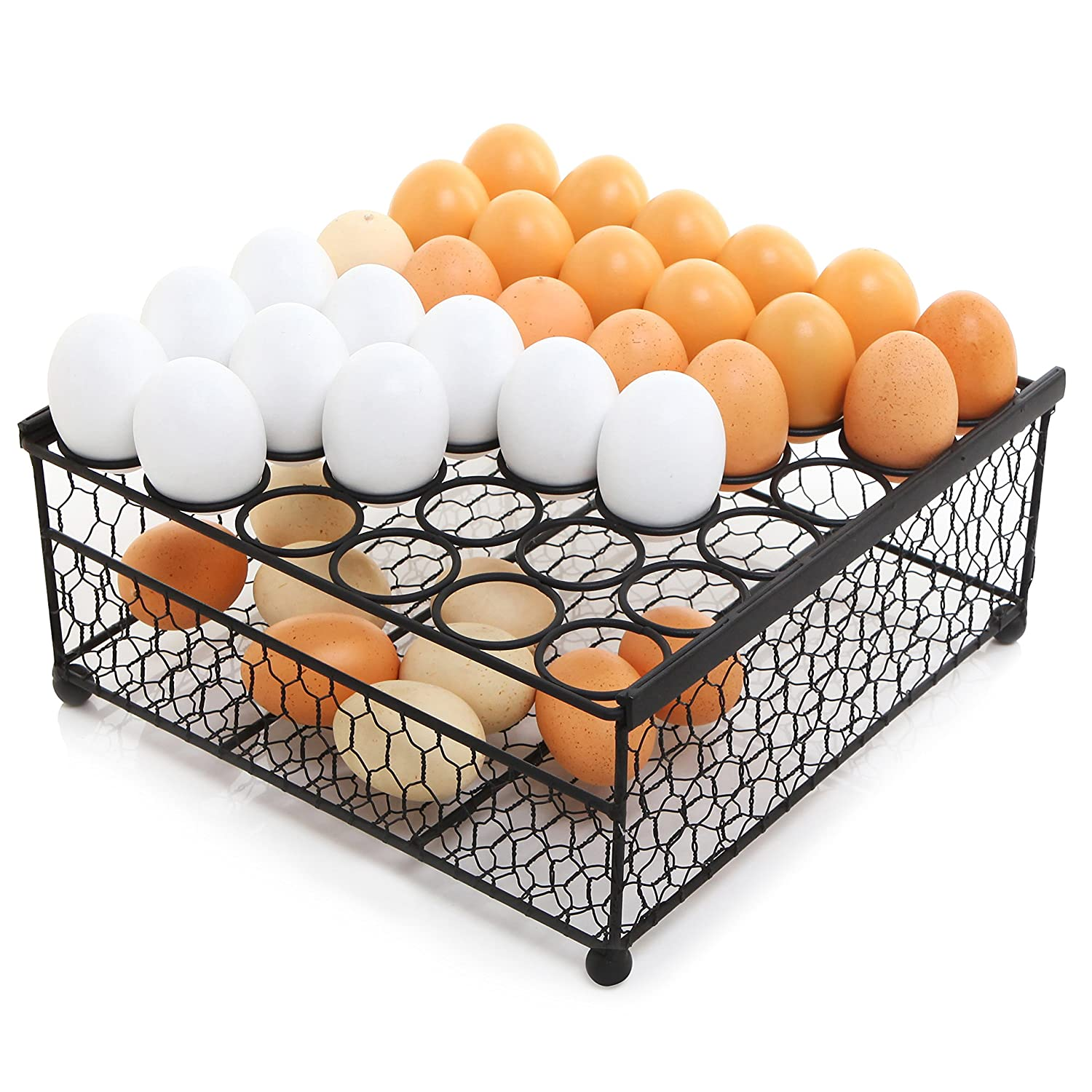 2 Tier Country Rustic Black Chicken Wire 36 Eggs Display Tray and Storage Basket MyGift