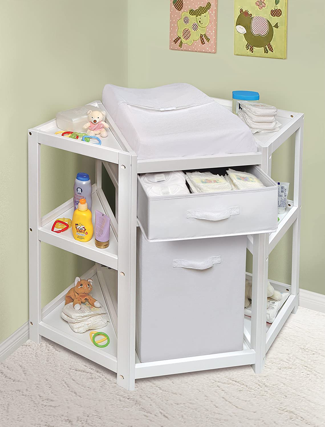 Merveilleux Amazon.com : Badger Basket Diaper Corner Baby Changing Table With  Hamper/Basket, White : Baby