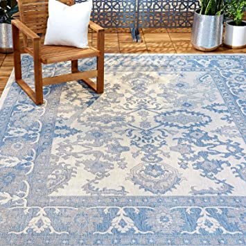 Amazon Com Home Dynamix Nicole Miller Patio Country Ayana Indoor Outdoor Area Rug 7 9 X10 2 Traditional Gray Blue Furniture Decor