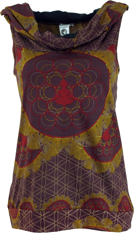 Canotta Buddha Mandala con Cappuccio Guru-Shop Cotone Magliette top top per il Festival di Goa