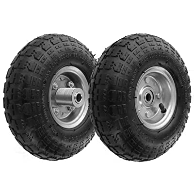 "RamPro 10"" All Purpose Utility Air Tires/Wheels with a 5/8"" Diameter Hole with Double Sealed Bearings (Pack of 2): Home Improvement"