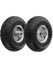 """RamPro 10"""" All Purpose Utility Air Tires/Wheels with a 5/8"""" Diameter Hole with Double Sealed Bearings (Pack of 2)"""