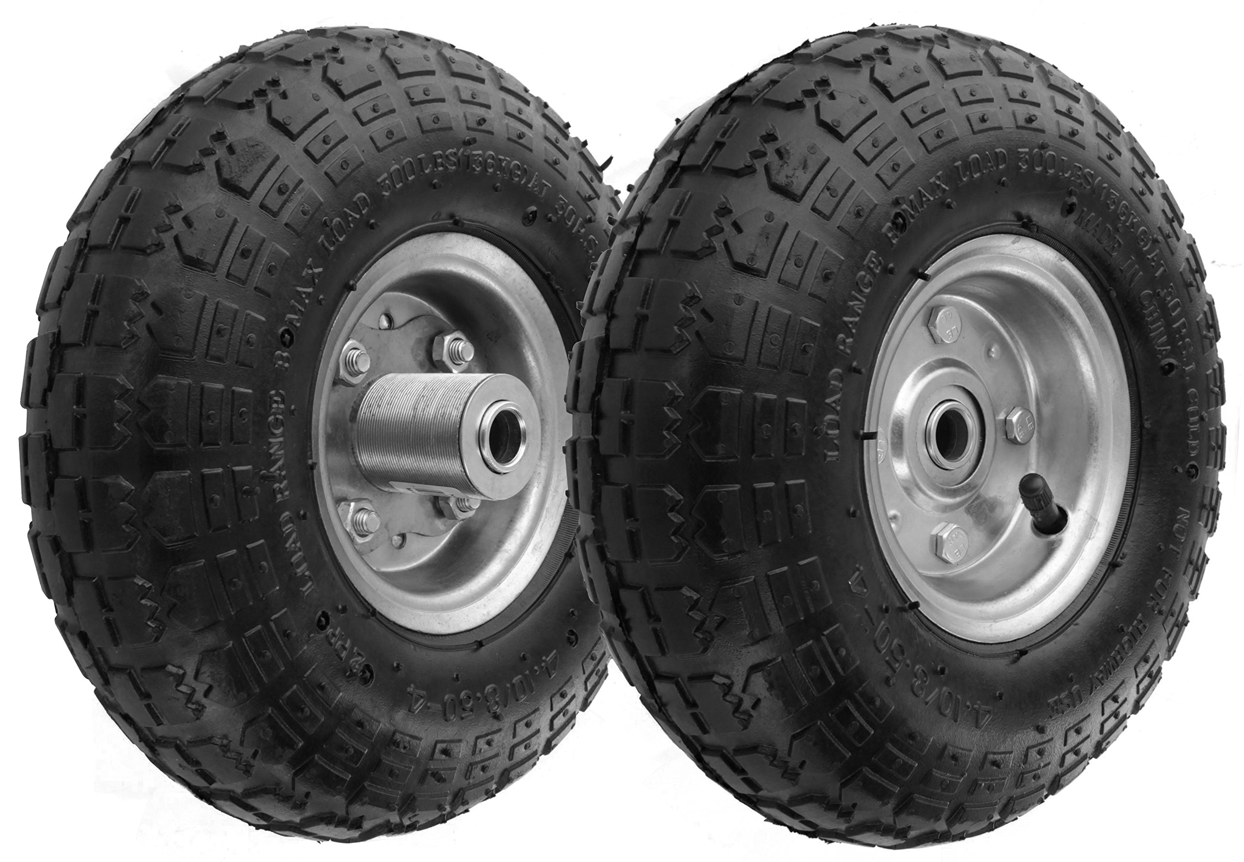 RamPro 10'' All Purpose Utility Air Tires/Wheels with a 5/8'' Diameter Hole with Double Sealed Bearings (Pack of 2)