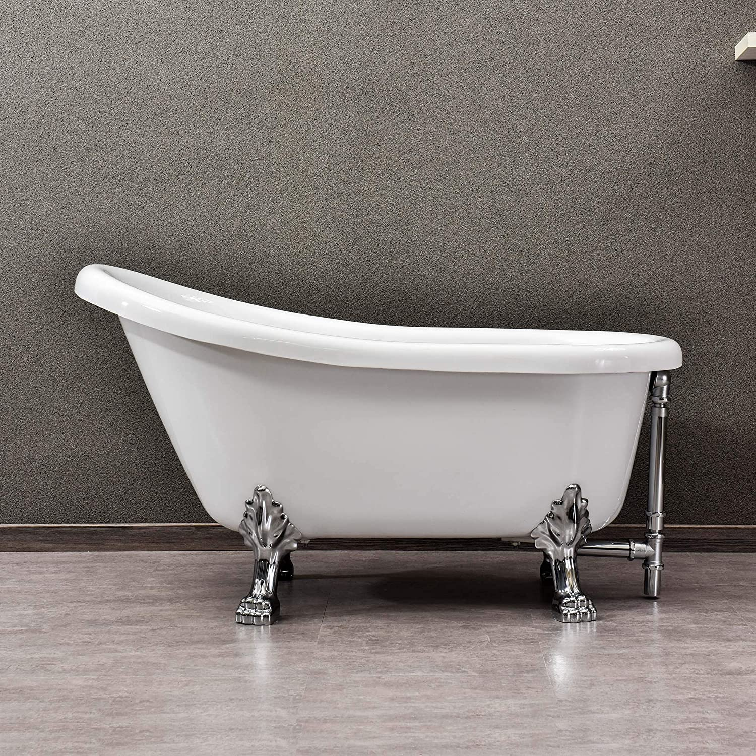 Clawfoot tub with silver toned feet is perfect for a chic vintage style classic bathroom design.
