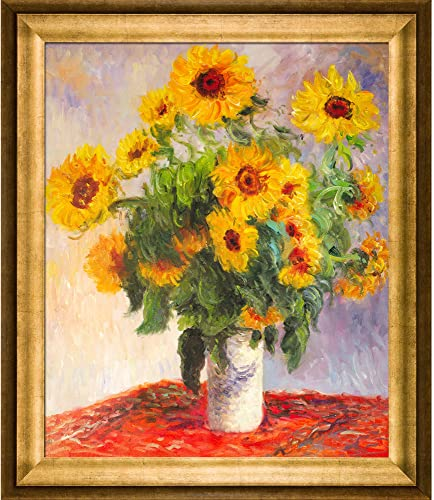 overstockArt Monet Sunflowers Painting with Athenian Gold Frame, Antique Finish