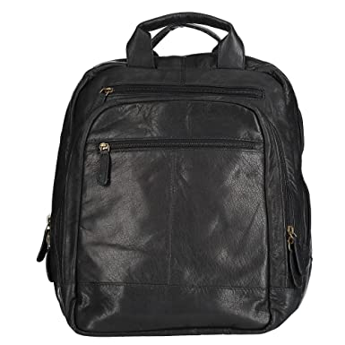 35743438218e Amazon.com: CTM Men's Leather Top Zip Backpack with Laptop Sleeve ...