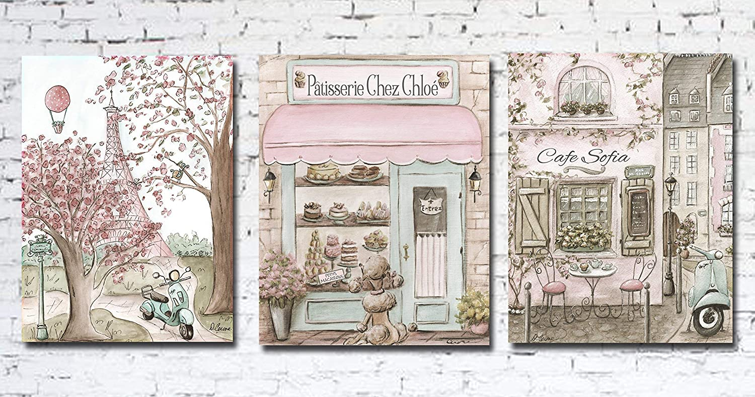 Image of Home and Kitchen Canvas Art, Set Of 3 Vintage Paris Canvas Prints, Personalized, Soft Blush Pink, Museum Wrapped, 1.5' Thick, 5 Sizes, Archival