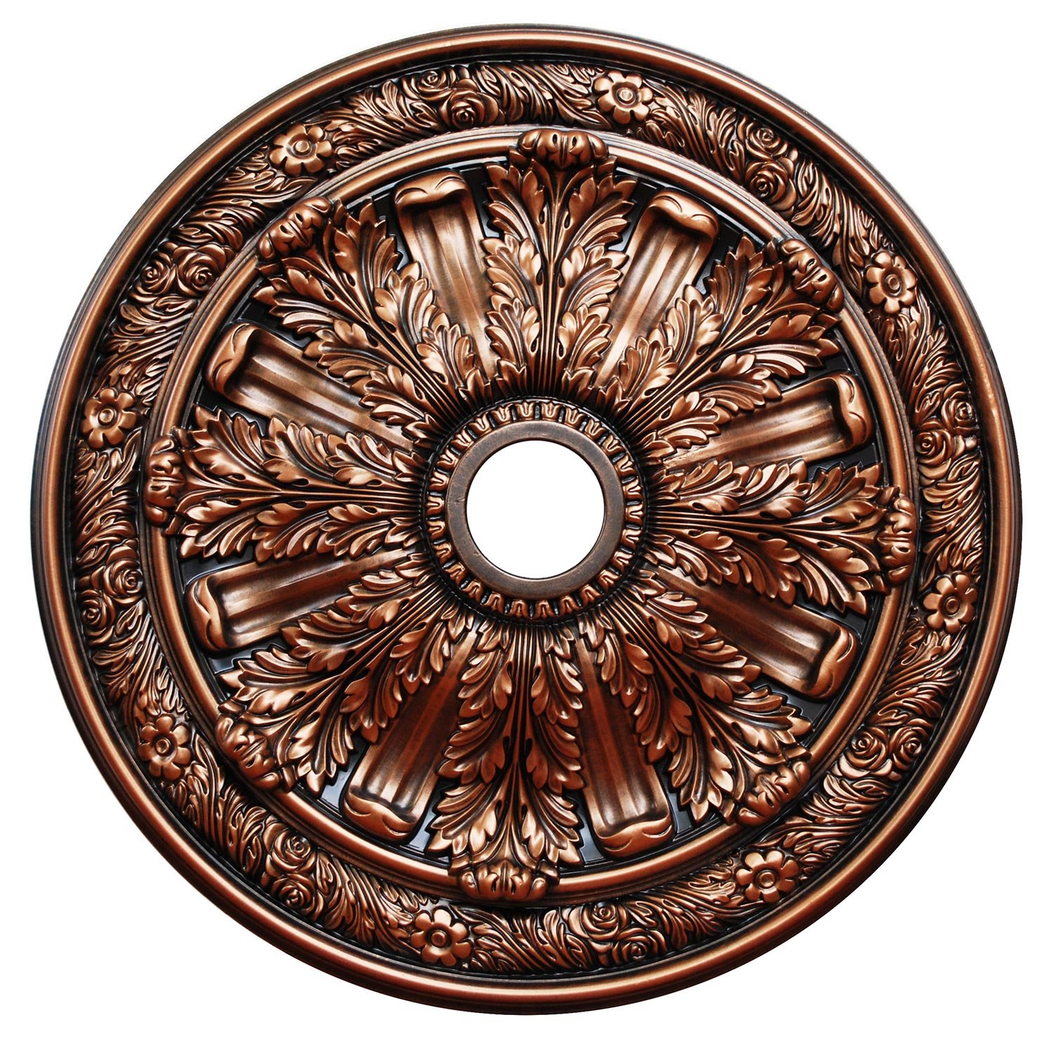Fine Art Deco ''Bronzed Acanthus'' Hand Painted Ceiling Medallion 30 In. Finished in Antique Bronze by Fine Art Deco