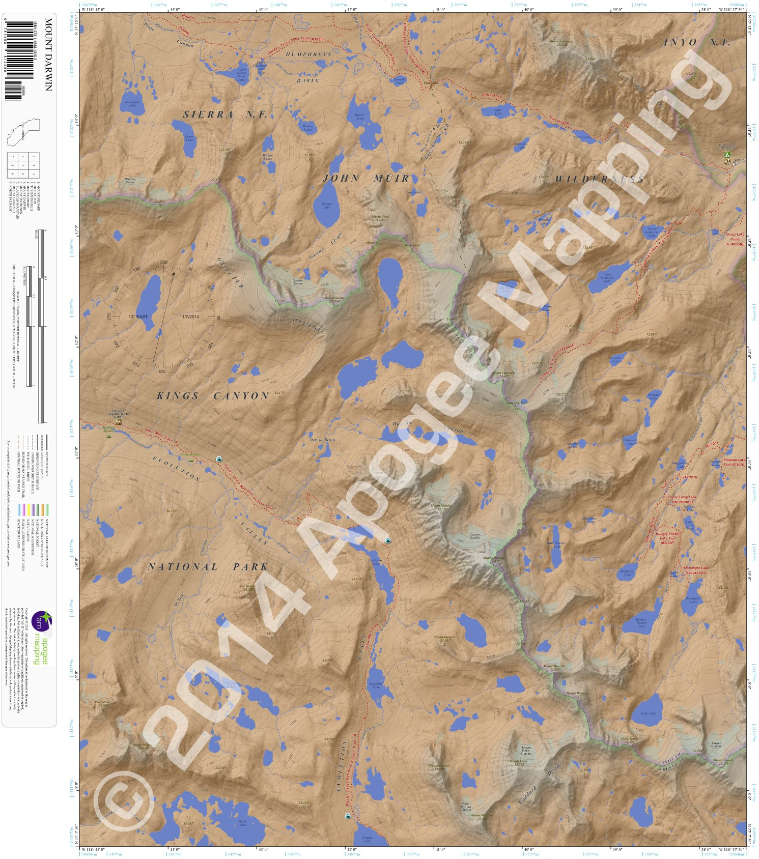 Darwin California Map.Mount Darwin California 7 5 Minute Topographic Map Waterproof