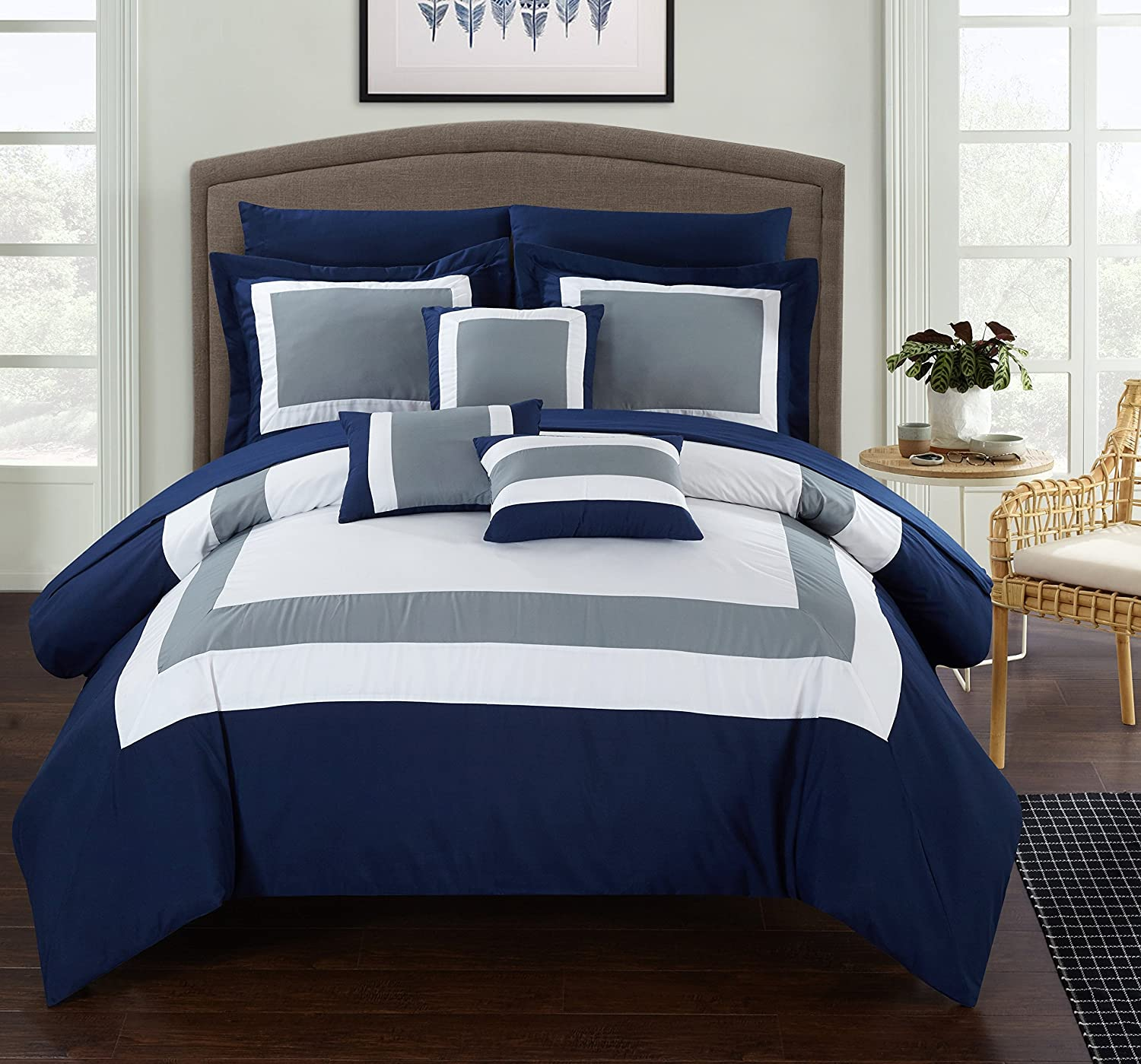 Chic Home 10 Piece Lord Patchwork Color Block Complete Queen Bed in a Bag Comforter Set Navy Sheets Included